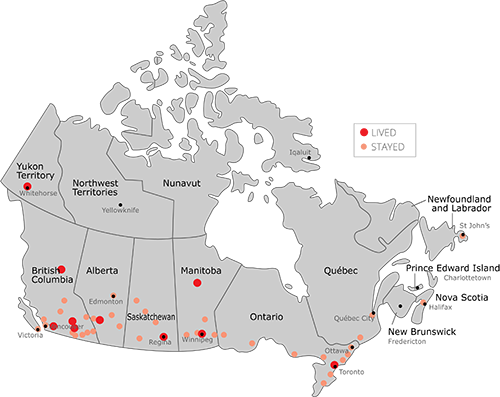 Places in Canada where we've lived and stayed