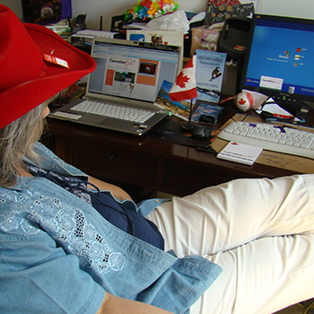 CEO Leslie Wilson, hard at work in 2010.