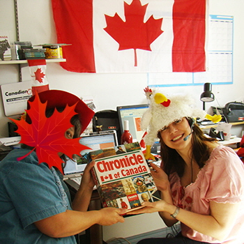Leslie (likes to be incognito) and Pam doing research at the Canadian Only office in 2010.