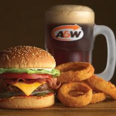 Teen burger, root beer and onion rings from A&W