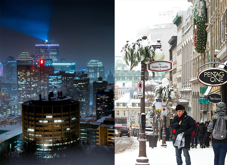 Left: Montreal (Photo: Robin Inizan). Right: Québec City (Photo: Denise Leon).
