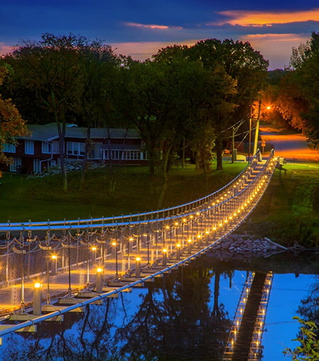 The Souris Swinging Bridge in Souris, Manitoba, photo by Gerry Kopelow, courtesy of Stantec