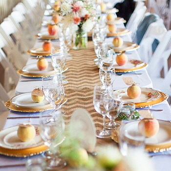 Westminster Party & Tent Rentals, Pentiction  |  Gold china table setting at Bench 1775 Winery  |  Photo: Vintage Origami
